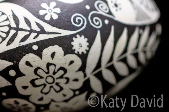 Pysanky method black and white floral and fauna goose egg