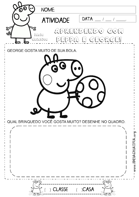 Atividade Identidade Peppa Pig Brinquedo preferido