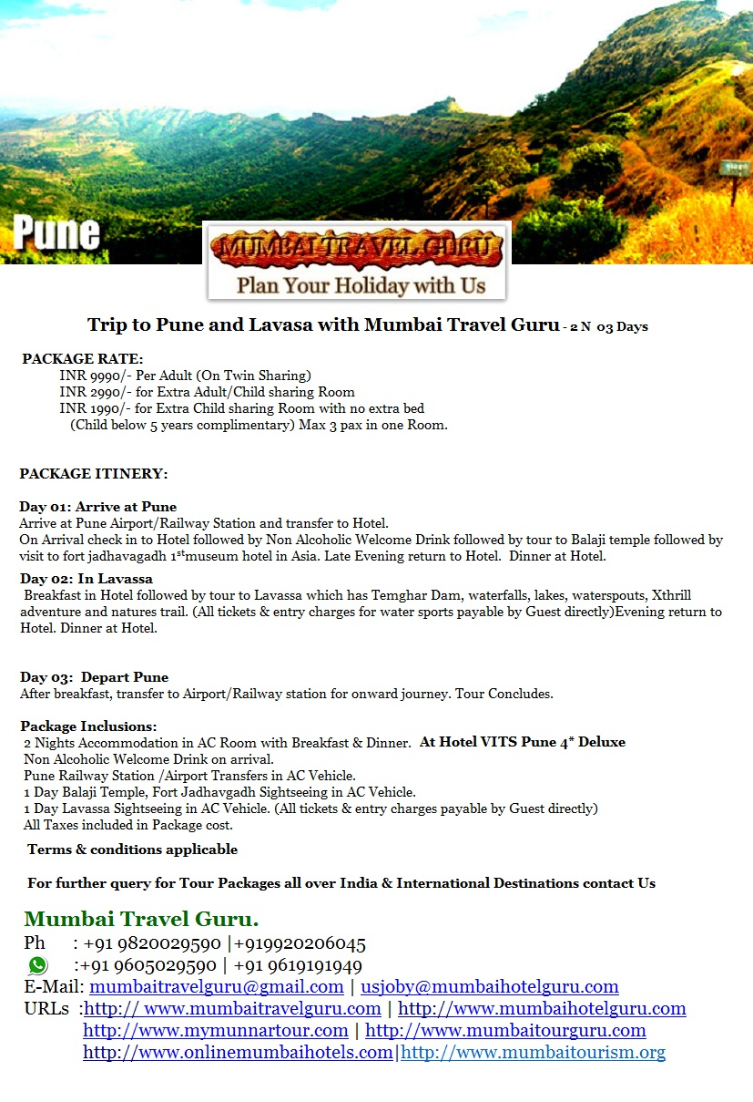 Tour Packages For Pune Lavasa Mumbai Taxi Book Hotels In Hotel Reservations Tourist Places Hill Station