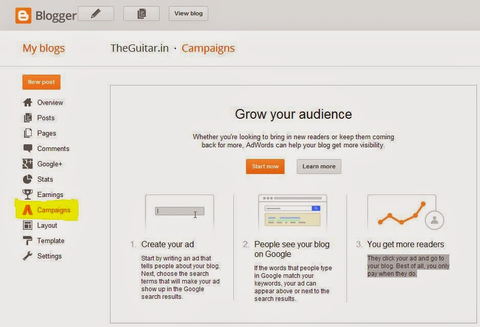 Google AdWards Grow Audience Campaign Blogger BlogSpot