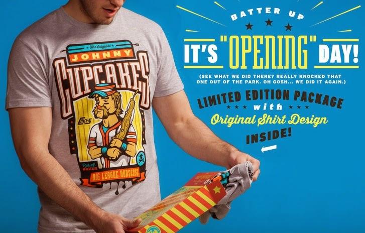"Johnny Cupcakes 2015 Baseball T-Shirts - ""Relief Baker"" Custom Cracker Jacks Packaging"