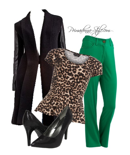 Leopard Peplum Green Skinny Pants Leather Sleeve Sweater Coat Gabriella Rocha Saber