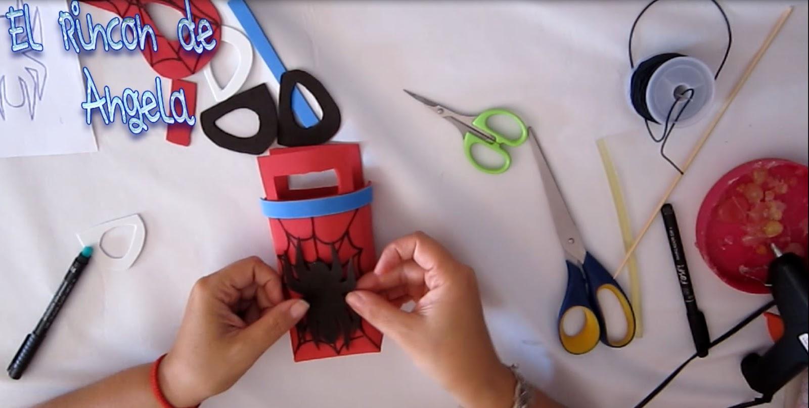 Como hacer mascara y dulcero de spiderman hombre ara a - Manualidades para hacer en un cumpleanos ...