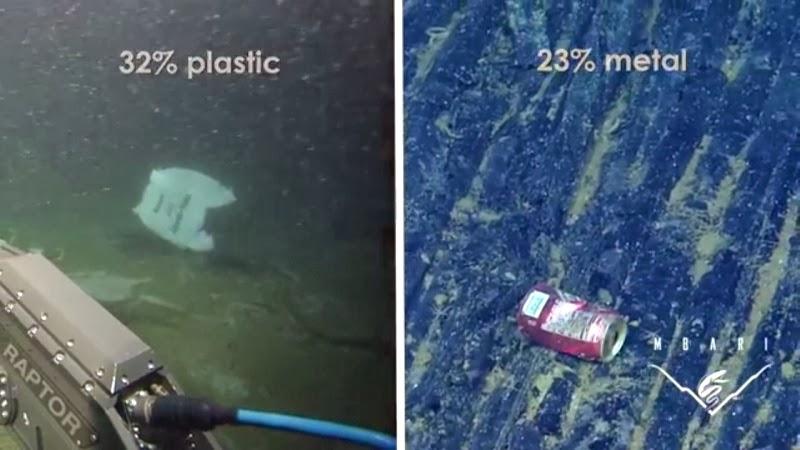 Os resíduos sólidos urbanos compõem a maior parte da poluição marinha. Crédito: MBARI