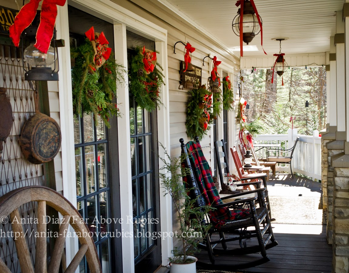 Far above rubies country christmas home tour for Country christmas decorations for front porch