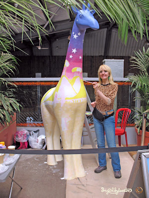 Stand Tall for Giraffes artist Ingrid Sylvestre at Colchester Zoo