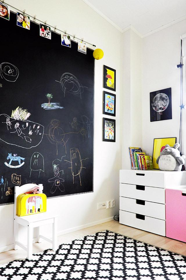 Pared amarilla trendy children blog de moda infantil - Pizarra de pared ikea ...