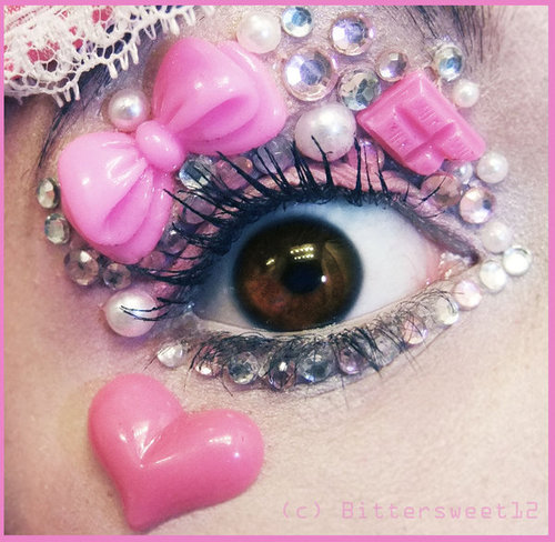 Beautiful Eyes Accented with Clear Stones and Pink Heart and Roses