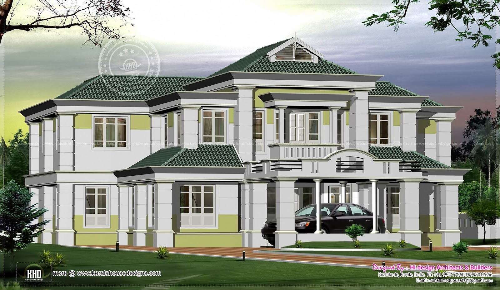 Kerala luxury bungalow model home for Luxury bungalow designs