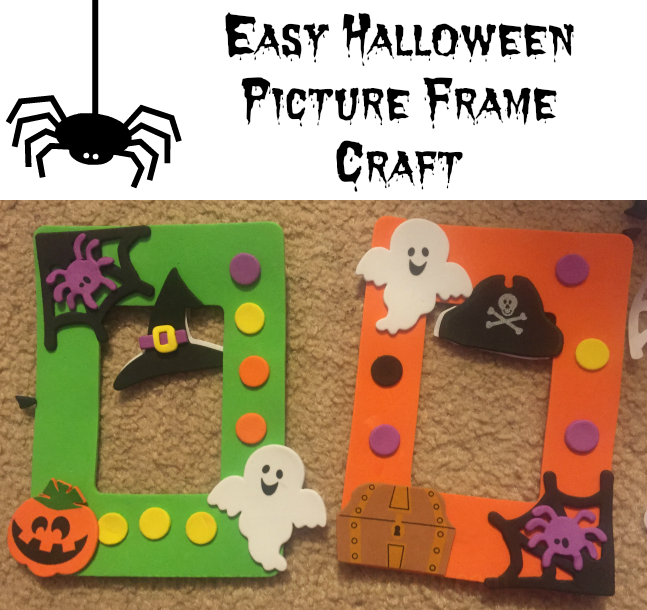 Nanny to mommy easy halloween picture frame craft for Easy photo frame craft