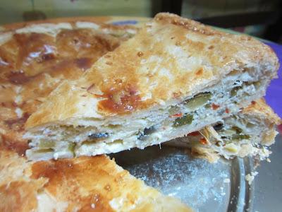 pizza rustica con ricotta e verdure.