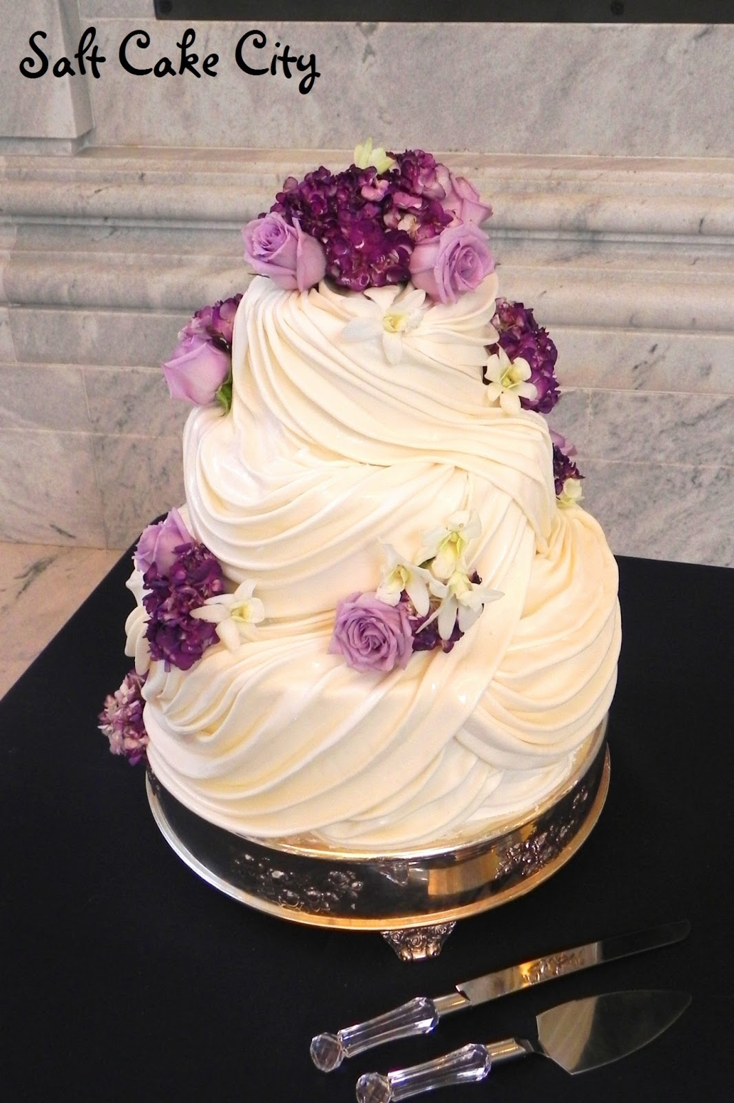 Square Wedding Cakes With Purple Flowers Viewing Gallery