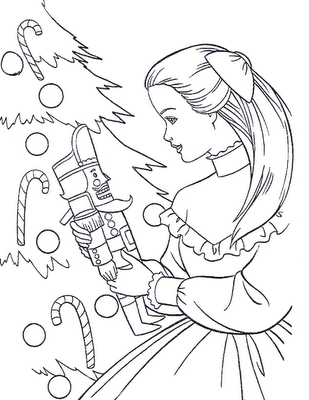 Free Barbie Christmas celebration Coloring Page for Children