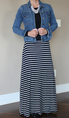 Fall 2015 casual outfit, business casual outfit idea, black and white striped maxi skirt, denim jacket, work wear