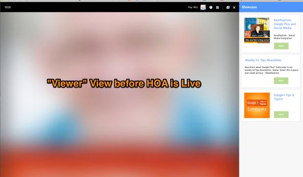 Google+ Showcase App before broadcast view