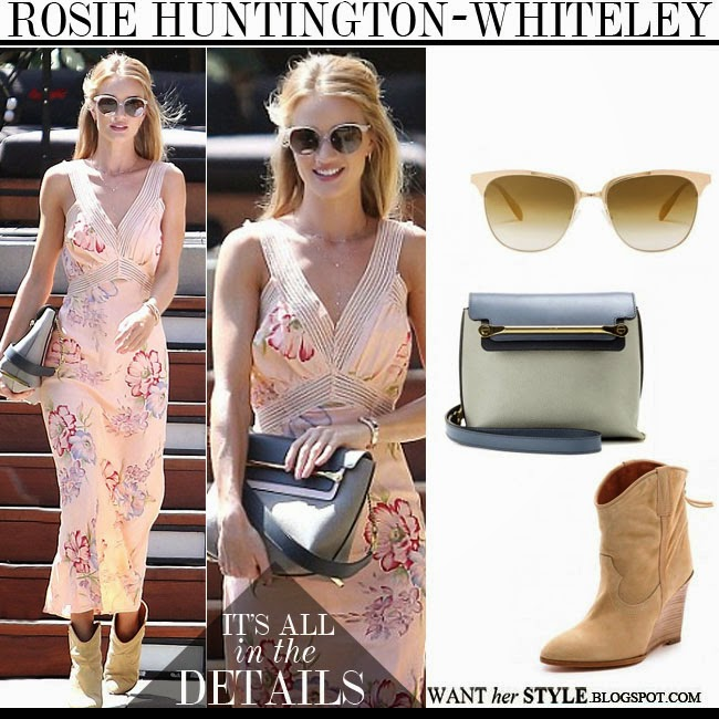 Rosie Huntington-Whiteley in pink floral maxi dress with suede ankle boots IRO Merric, grey Chloe Clare bag and gold sunglasses Oliver Peoples Leiana august 31 2014 want her style