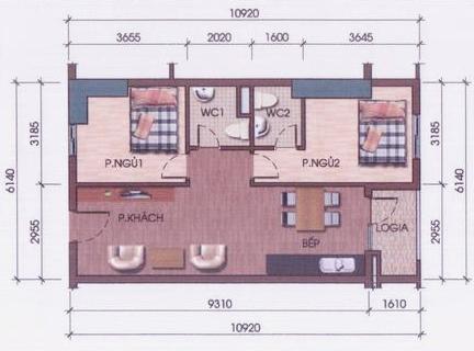 Thiết kế căn hộ 2 phòng ngủ diện tích từ 56m2 đến 71m2