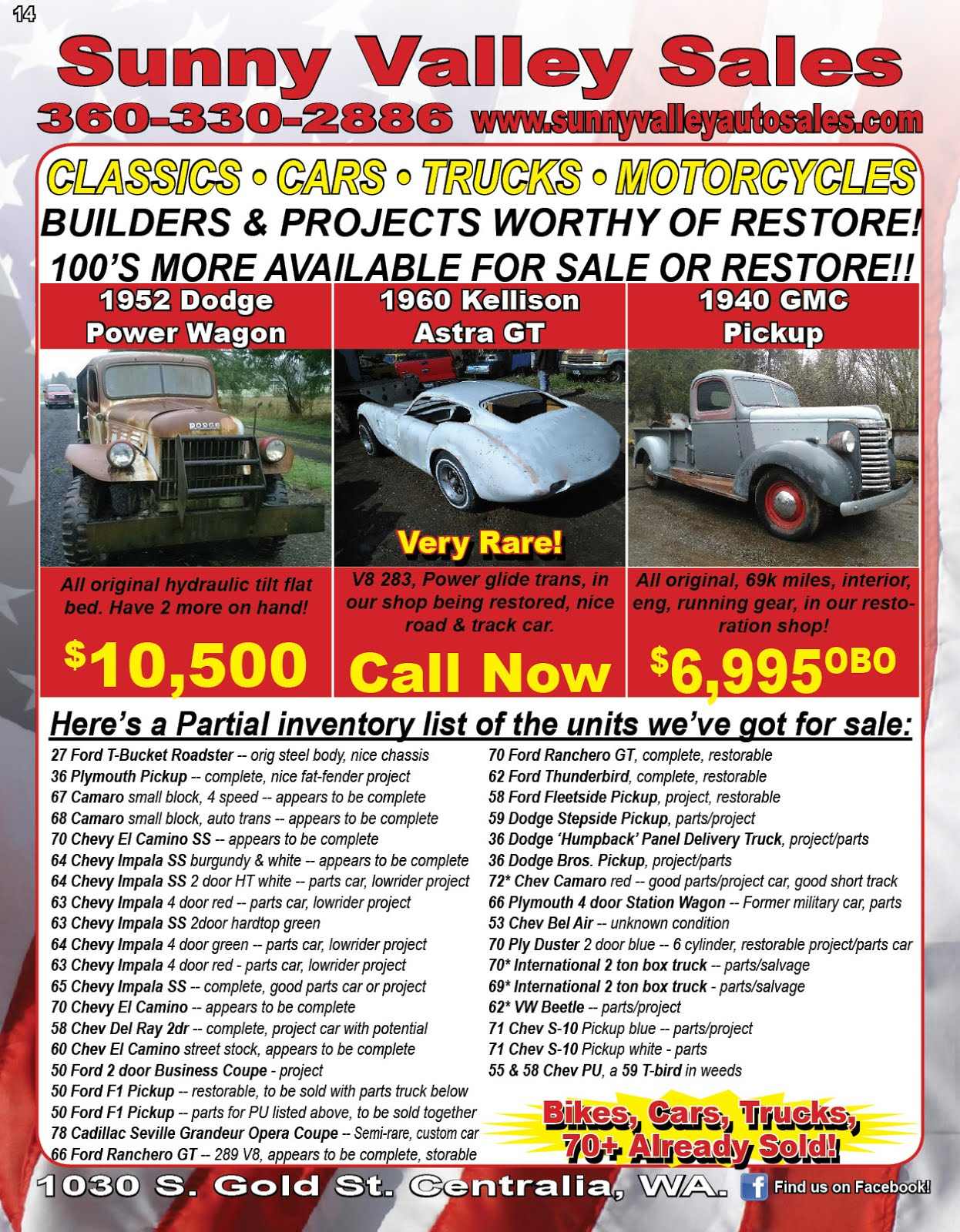 Sunny Valley Sales Classic Project Vehicles Sale!!