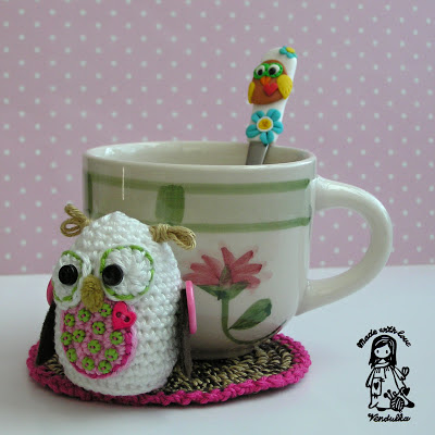crochet, autumn, owl, toy, crochet owl coaster, amigurumi, magic with hook and needles, vendula maderska design