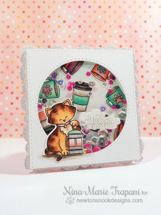 Coffee Cat Card by Nina-Marie Trapani | Newton Loves Coffee Stamp set by Newton's Nook Designs #newtonsnook #coffee