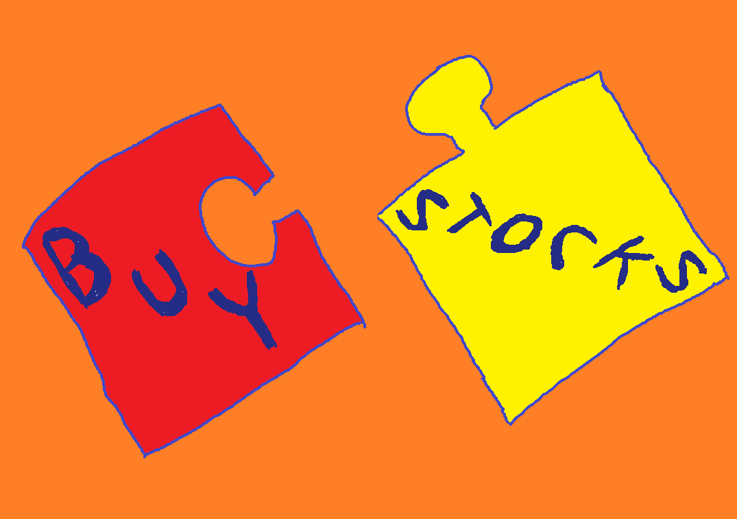 "Image of a two piece puzzle, broken apart.  Each piece contains a word: ""Buy"" and ""Stocks"""