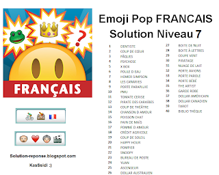 Emoji Pop Francais solution niveau 7 8 9