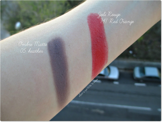 Clarins -  Sombra Ombre Matte 05 Heather y Labial Jolie Rouge 741 Red Orange - Swatches