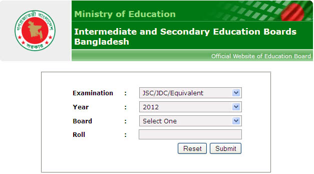 Bangladesh Junior School Certificate and Junior Dakhil result 20121