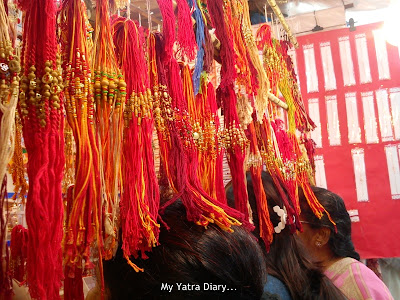 Colorful rakhi designs displayed in shops - Raksha Bandhan, Mumbai