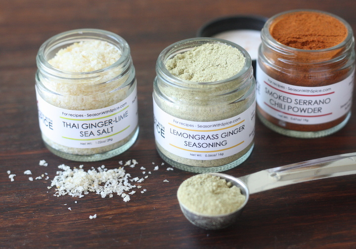 Lemongrass Ginger Seasoning, smoked serrano chili powder and thai ginger lime sea salt available at SeasonWithSpice.com