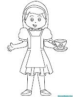 Alice membawa secangkir teh untuk diminum