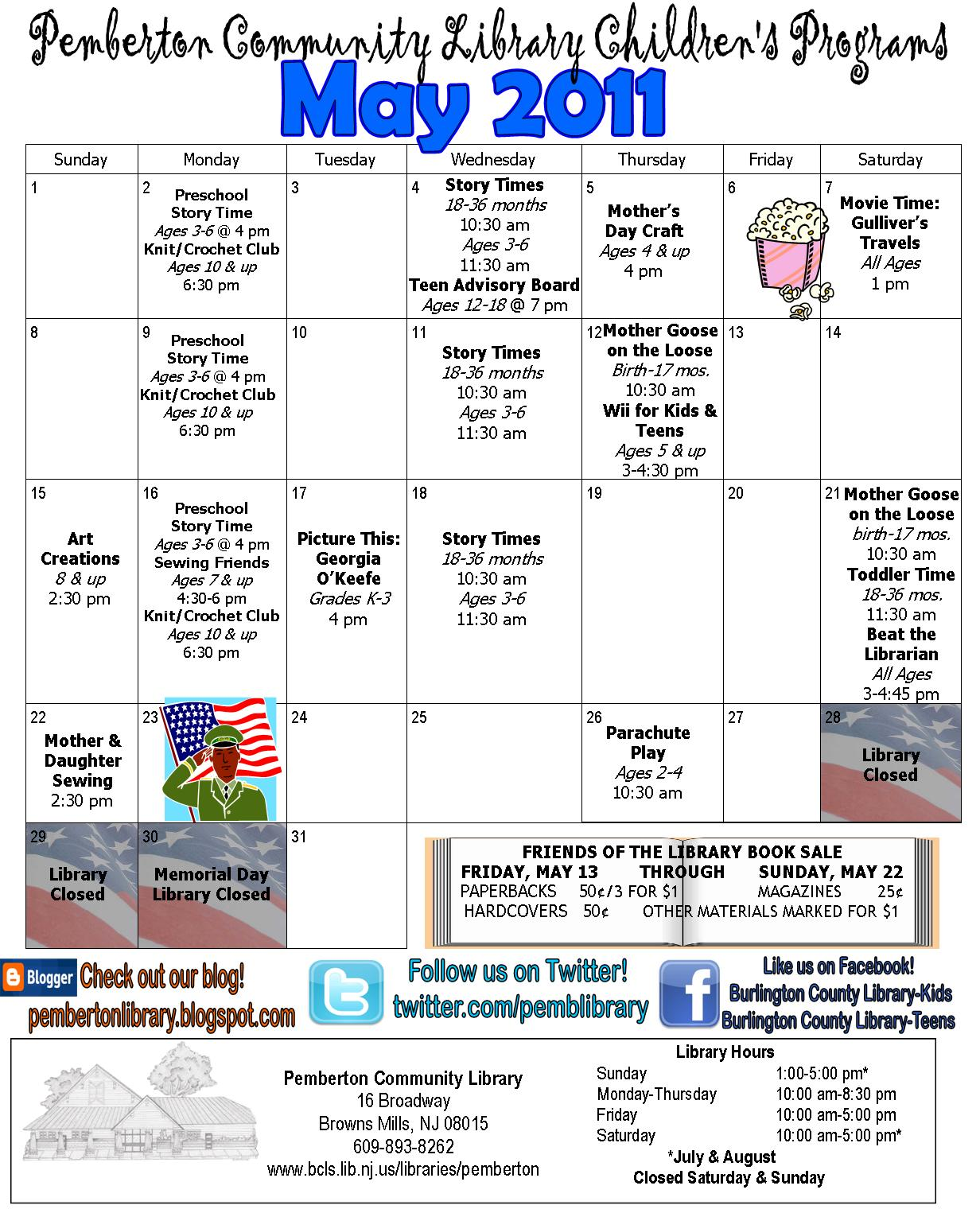 Calendar May Events : Pemberton community library s may events calendar