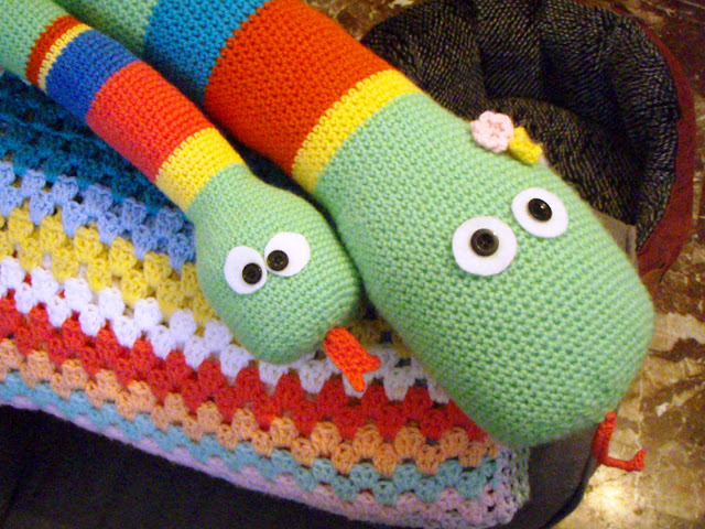miss snakes and baby crochet toy stuffed close up button eyes