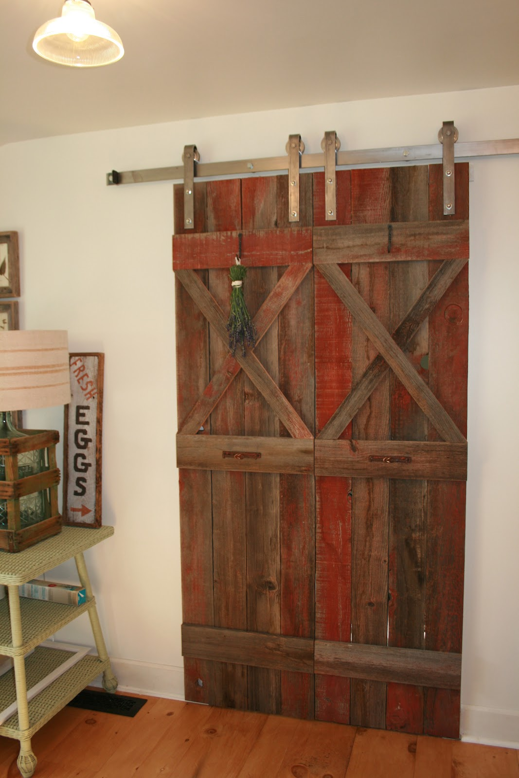 the polished pebble barn doors in the kitchen