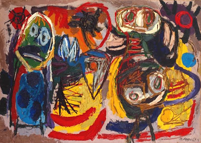 Karel Appel -  People, Birds and Sun  1954