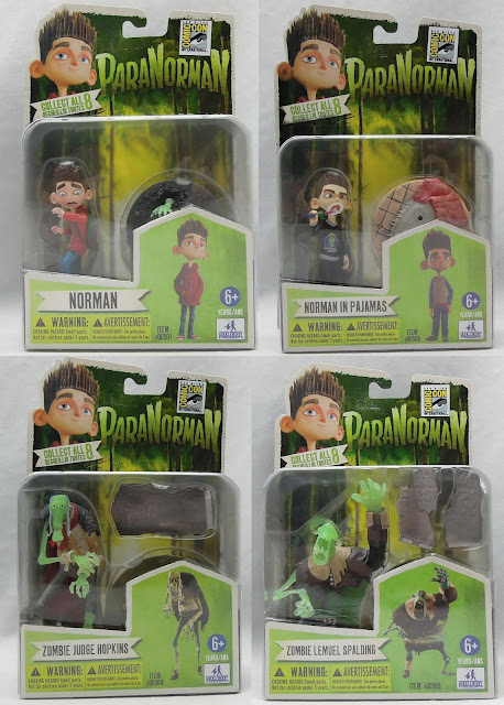 San Diego Comic-Con 2012 Exclusive ParaNorman Action Figures by Huckleberry - Variant Norman with Glow-in-the-Dark hand, Variant Norman in Pajamas, Glow-in-the-Dark Zombie Judge Hopkins & Glow-in-the-Dark Zombie Lemuel Spalding