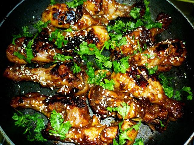 juicy chicken in honey and BBQ sauce