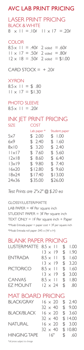 UVU Art Lab Pricing