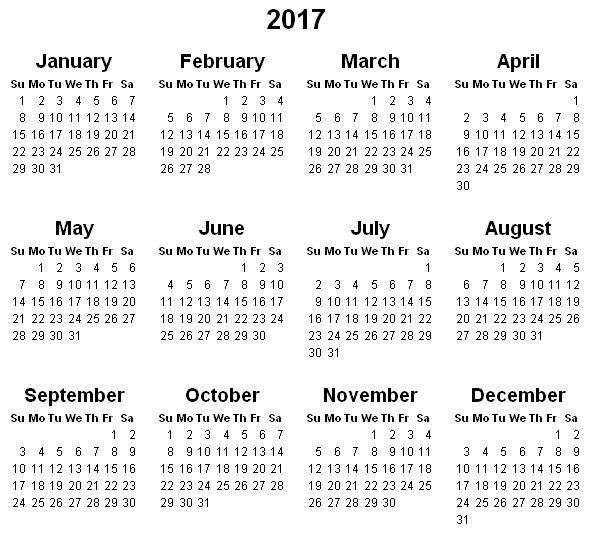 Print Calendar 2017 – Printable Pages