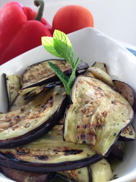 aubergines grillées, antipasti,sweet kwisine
