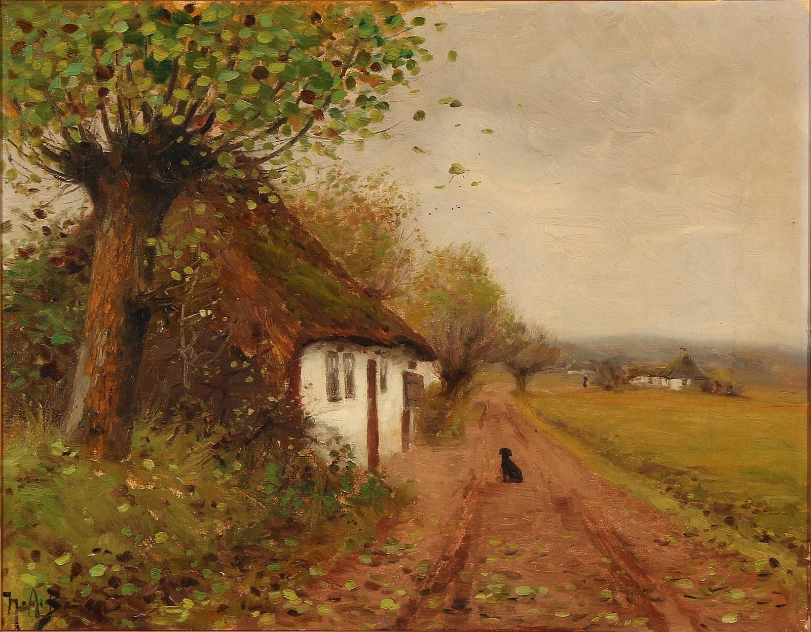 Hans Andersen  rendekilde Landskab med en ventende hund p C A en grusvej