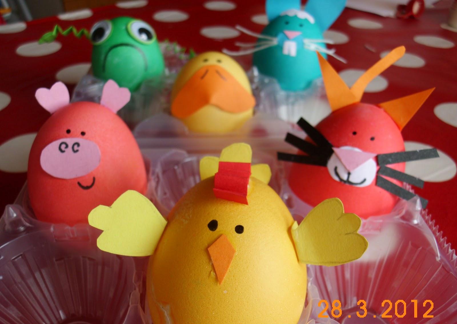 I piccoli chef uova sode decorate - Uova di pasqua decorate per bambini ...
