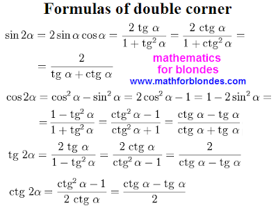 Trigonometry formulas multiple angles. Formulas of double corner. Sine two alpha, cosine 2 alpha, tangent of 2a, cotangent two alpha. Mathforblondes. Mathematics for blondes.