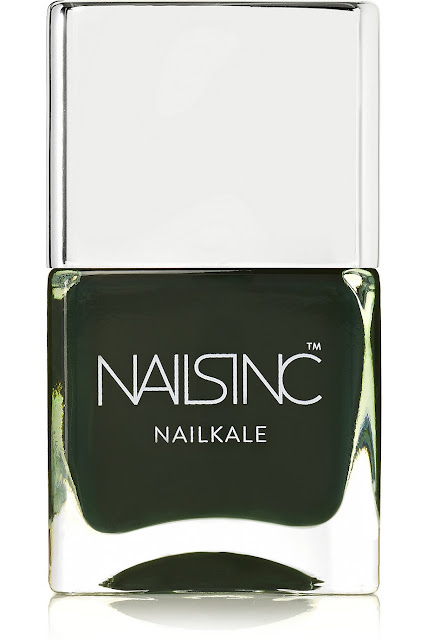 nails inc dark green polish, bruton mews,
