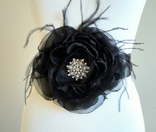 Black Fabric Flower Bridal Sash Belt