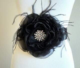 Black Fabric Flower Bridal Sash Belt