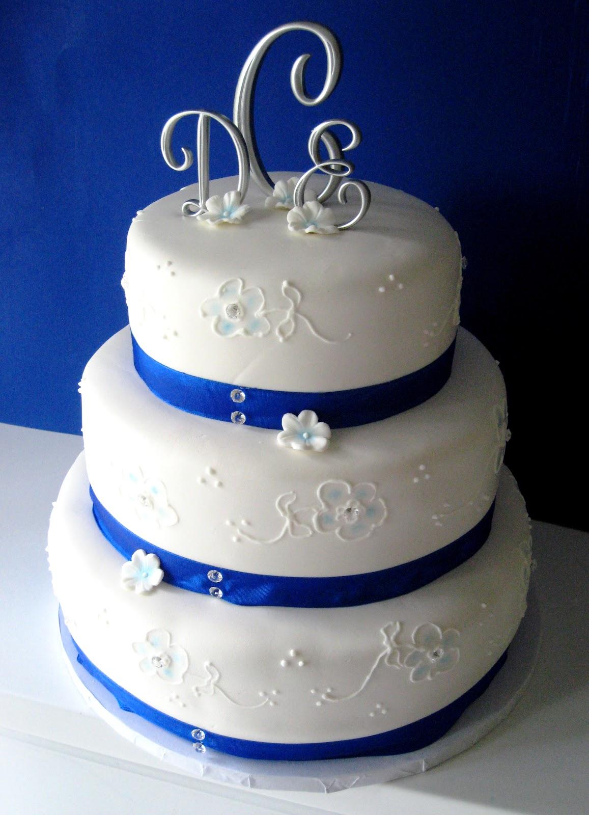 Heavenly Bites Cakes White & Blue Wedding Cake
