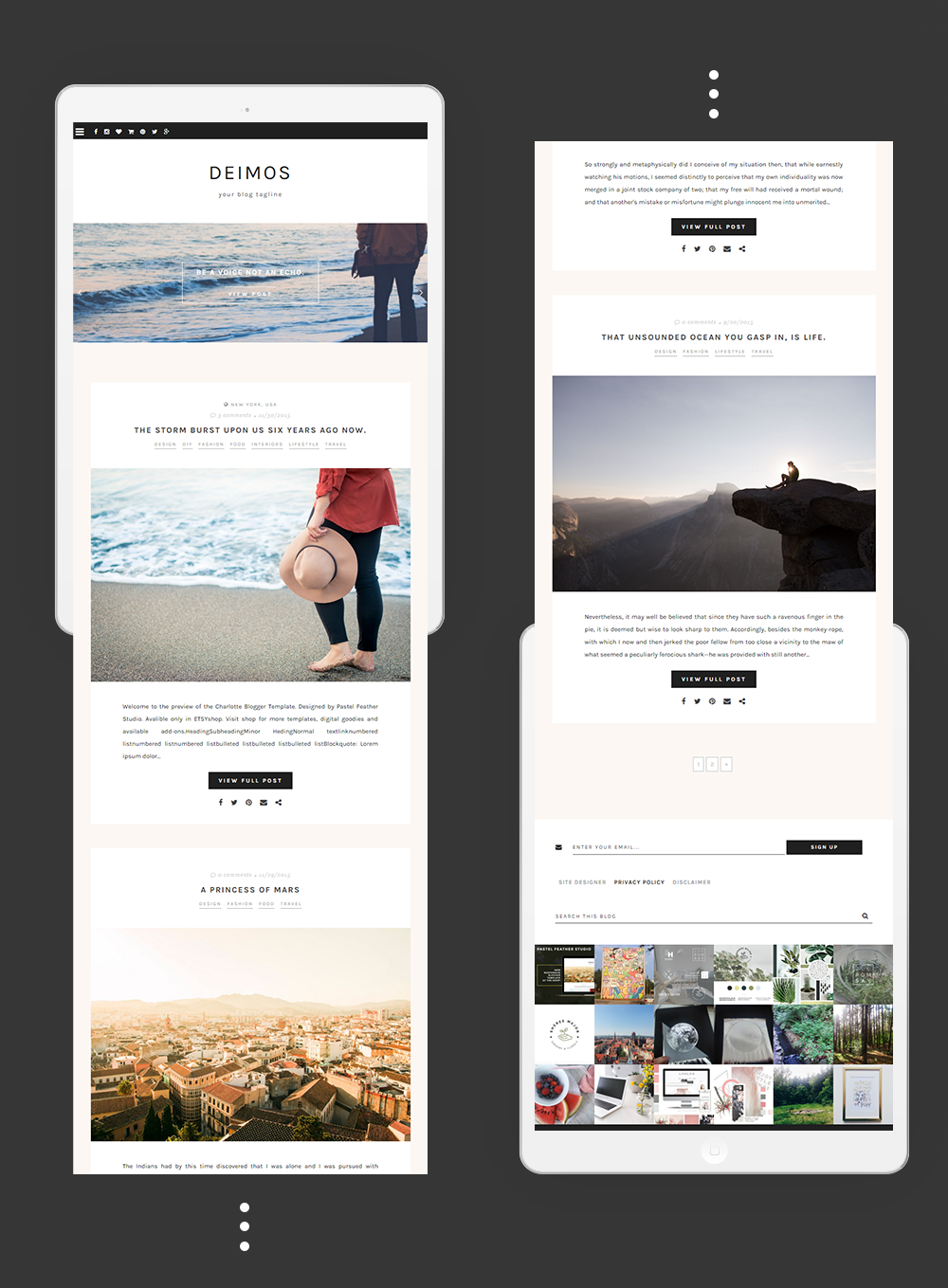 deimos blogger template | P△STEL FEATHER STUDIO