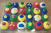 . toppers are all fondant and include Mario, Luigi, stars, coins, shells, .