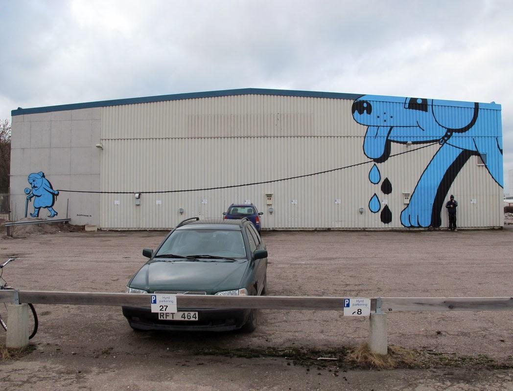 Danish artist HuskMitNavn recently visited Sweden where he created this large street art mural in Linköping.
